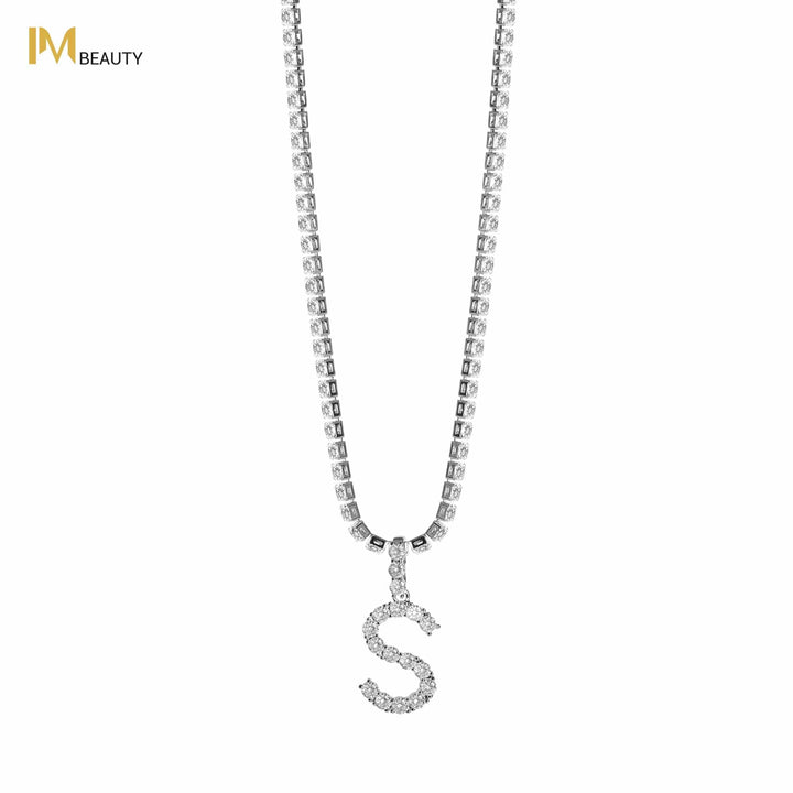 Rhinestones Initial Necklace - S - IM Beauty