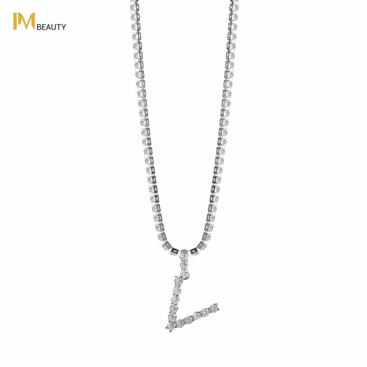 Rhinestones Initial Necklace - V - IM Beauty