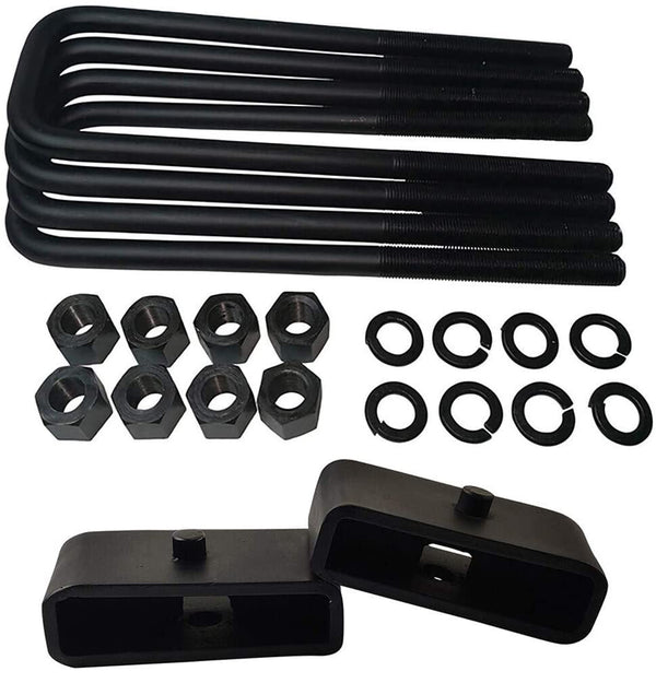 GMC Sierra Chevrolet Silverado 1500 2WD 4WD Steel Lift Blocks and Square U-Bolts Kit