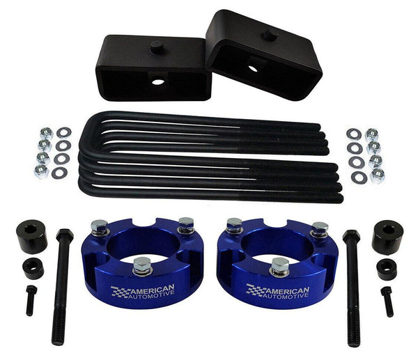 2005-2021 Tacoma 4WD 2x blue precision laser cut carbon steel front spring spacers, 2x rear steel lift blocks, 4x certified carbon steel leaf spring axle u-bolts with hi-nuts, security spring washers