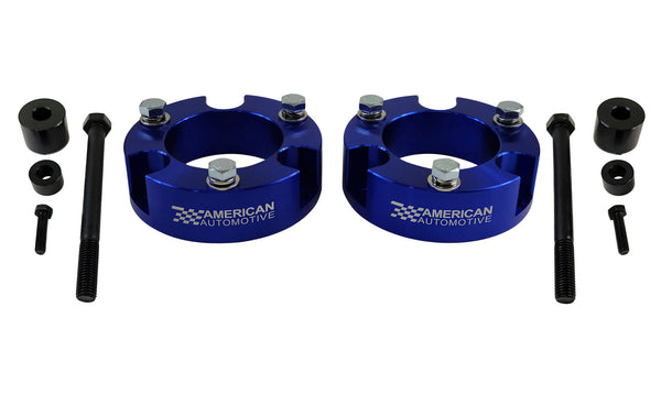 2x Front Billet Lift Strut Spacers, differential drop kit Blue