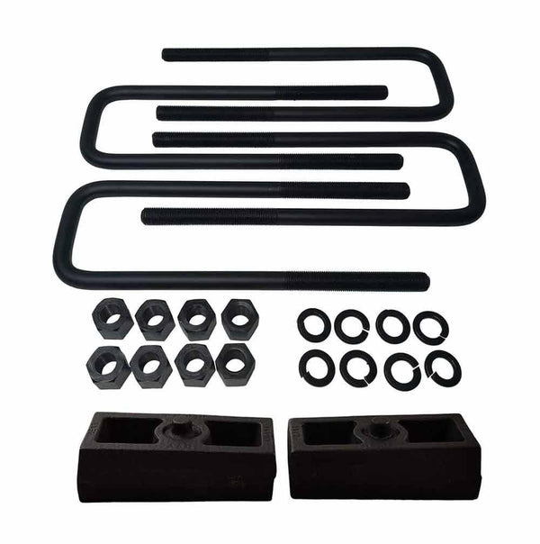Chevrolet Silverado GMC Sierra 1500HD 2500HD 3500HD 8-Lug Cast Iron Lift Blocks and Square U-Bolts Kit UBRB10-500 - 1.5 inch