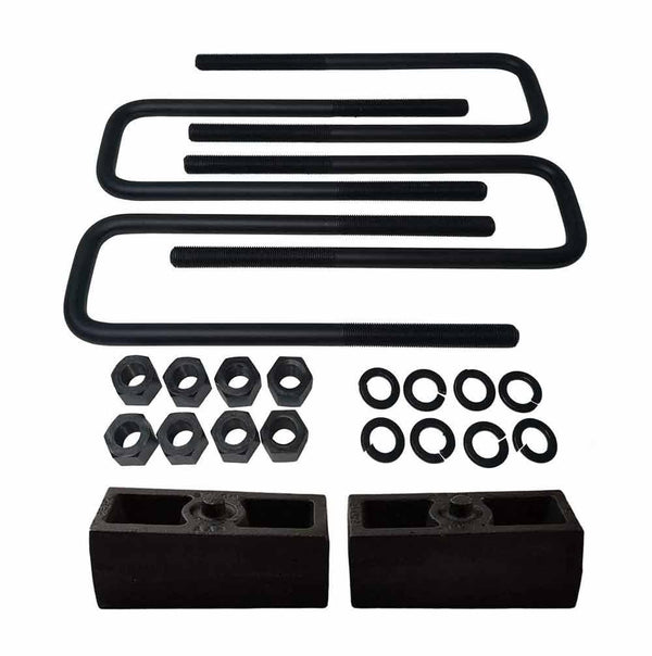 Chevrolet Silverado GMC Sierra 1500HD 2500HD 3500HD 8-Lug Cast Iron Lift Blocks and Square U-Bolts Kit UBRB10-501 - 2 inch