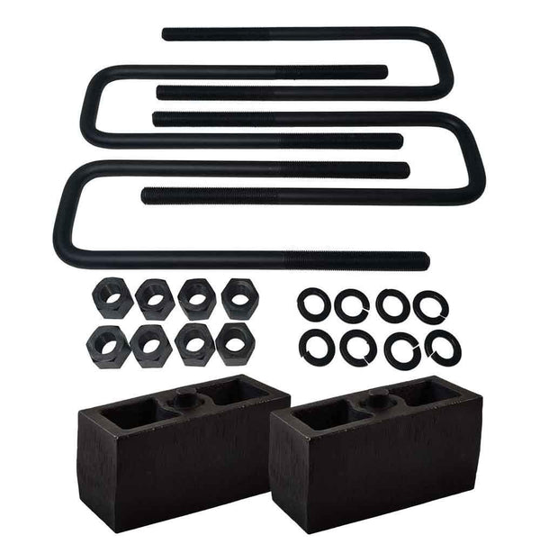 Chevrolet Silverado GMC Sierra 1500HD 2500HD 3500HD 8-Lug Cast Iron Lift Blocks and Square U-Bolts Kit UBRB14-500 - 3 inch