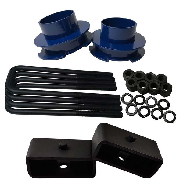 Chevrolet Silverado Sierra 1500 2WD Full Lift Leveling Kit - blue spacers with 2 inch lift blocks