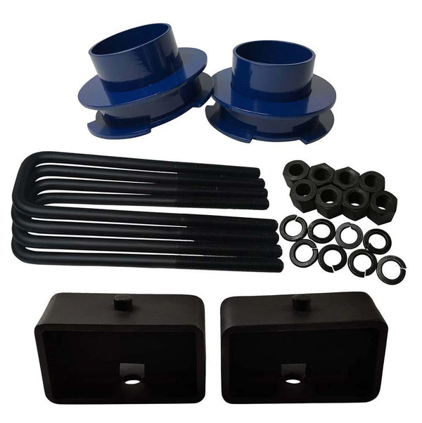 Chevrolet Silverado Sierra 1500 2WD Full Lift Leveling Kit - blue spacers with 3 inch lift blocks