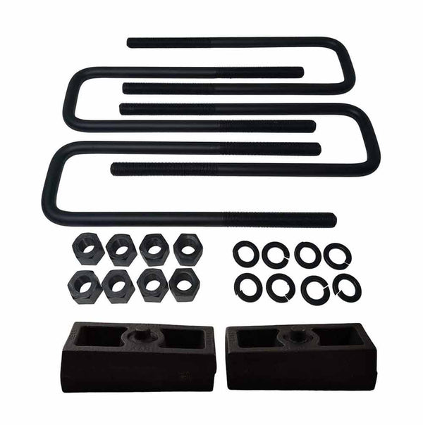 GMC K1500 K2500 K3500 8-Lug Cast Iron Lift Blocks and Square U-Bolts Kit UBRB10-514 - 1.5 inch