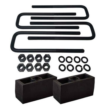 GMC Sierra Chevrolet Silverado 1500 2WD 4WD Cast Iron Lift Blocks and Square U-Bolts Kit