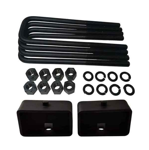 GMC Sierra Chevrolet Silverado 1500 2WD 4WD Steel Lift Blocks and Square U-Bolts Kit UBRBST10-492 - 3 inch