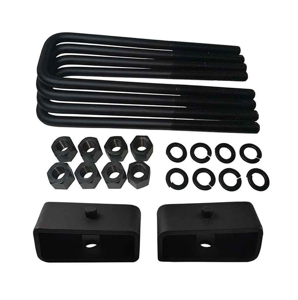 GMC Sierra Chevrolet Silverado 1500 2WD 4WD Steel Lift Blocks and Square U-Bolts Kit UBRBST10-506 - 2 inch
