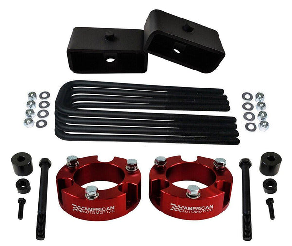 2005-2021 Tacoma 4WD 2x red precision laser cut carbon steel front spring spacers, 2x rear steel lift blocks, 4x certified carbon steel leaf spring axle u-bolts with hi-nuts, security spring washers