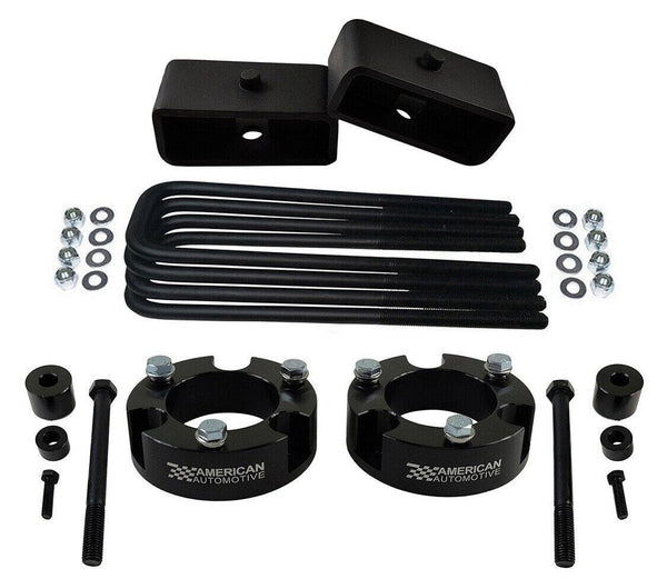 2005-2021 Tacoma 4WD 2x precision laser cut carbon steel front spring spacers, 2x rear steel lift blocks, 4x certified carbon steel leaf spring axle u-bolts with hi-nuts, security spring washers