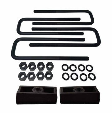 "Rear Lift Level Cast Iron Blocks and 12"" Square U-Bolts Kit"