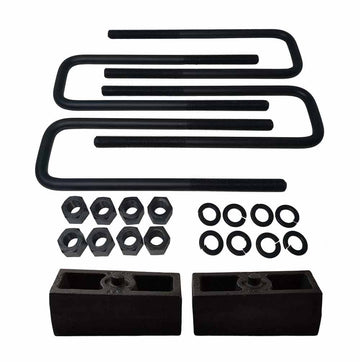 "Rear Lift Level Cast Iron Blocks and 8"" Square U-Bolts Kit"
