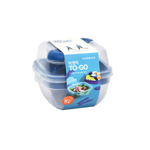 Others: Lock and Lock To-Go Salad Box with Spork and Knife 950ml Square