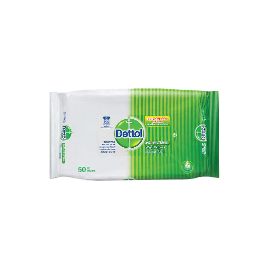 Protection Pack:  Dettol Anti-bacterial Wet Wipes x 50s (Kills 99.9 Percent of Germs)