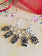Load image into Gallery viewer, Set of 5 Owl Stitch Markers