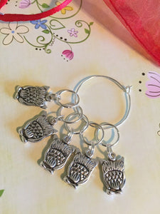 Set of 5 Owl Stitch Markers