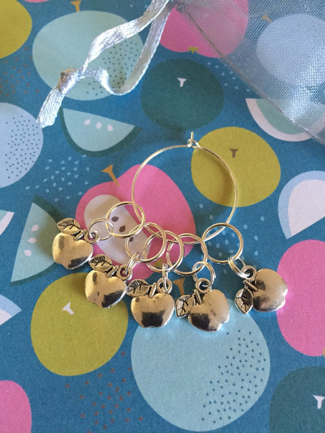 Set of 5 Apples Stitch Markers