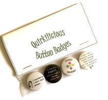 "Load image into Gallery viewer, Set of 4 Crochet Themed Button Badges, 1""/25mm"