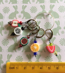 Set of 5 Fruit Stitch Markers
