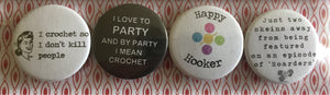 "Set of 4 Crochet Themed Button Badges, 1""/25mm"
