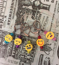 Load image into Gallery viewer, Set of 5 Emoji Knitting Crochet Stitch Markers