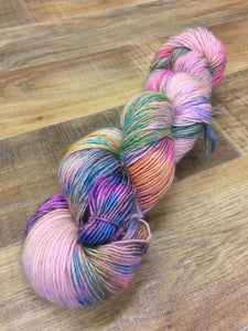 Superwash Merino Sparkle Single Ply Fingering Yarn, 100g/3.5oz, Clown