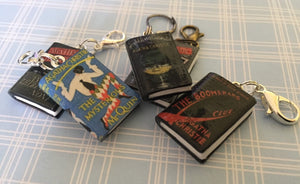 Miniature Book Charm Stitch Marker, Agatha Christie inspired