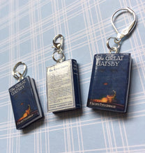 Load image into Gallery viewer, Miniature Book Charm, The Great Gatsby, F Scott Fitzgerald inspired