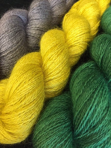 Non Superwash Wensleydale British Wool, 4 Ply Yarn, 100g/3.5oz, Glitter and Grease