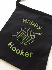 Happy Hooker Cotton Drawstring Tote Bag