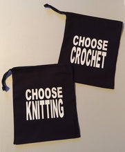 Load image into Gallery viewer, Choose Yarn, Knitting, Crochet, Cotton Drawstring Project Tote Bag