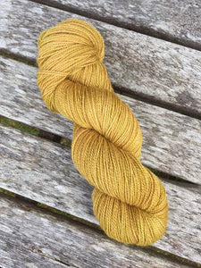 Non Superwash, No Nylon Corriedale Sock Yarn, 100g/3.5oz, Gold Rush