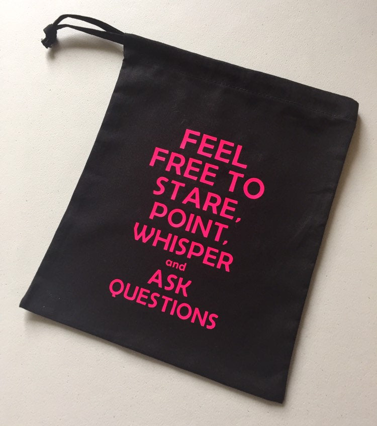 Feel Free to Stare Cotton Drawstring Project Tote Bag