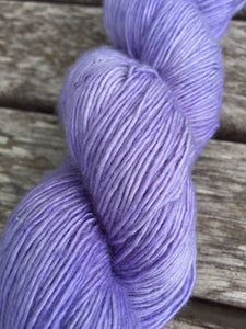 Superwash Merino Single Ply Fingering Yarn, 100g/3.5oz, Lady Susan, Lilac, Semi Solid