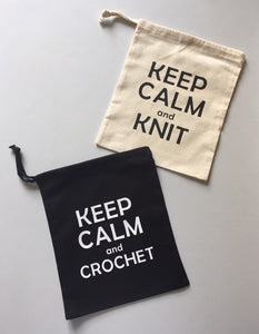 Keep Calm and Knit Cotton Drawstring Tote Bag