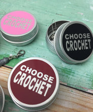 Load image into Gallery viewer, Round Notions Tin, Choose Crochet