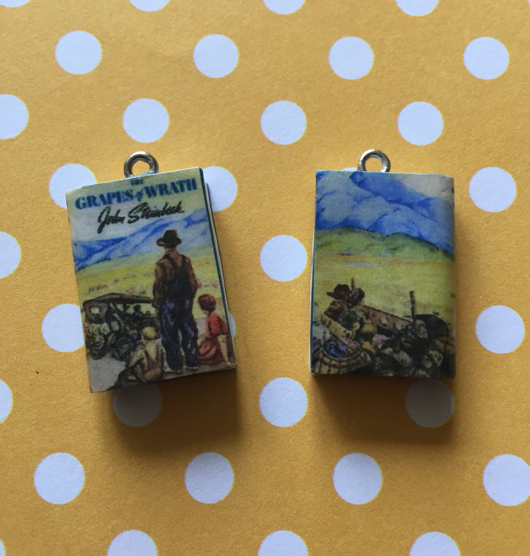 Miniature Book Charm Stitch Marker, Grapes of Wrath, John Steinbeck inspired