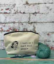 Load image into Gallery viewer, I Knit So I Don't Kill People Cotton Canvas Notions Pouch