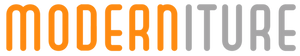 Moderniture logo in orange and dove gray. Logo image is of stylized text only.