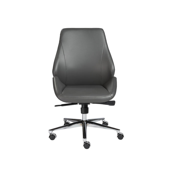 Bergen Low Back Office Chair w/o Armrests in Gray with Chromed Aluminum Base
