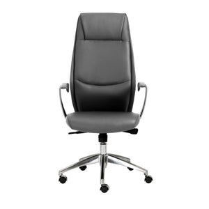Crosby High Back Office Chair in Gray with Polished Aluminum Base