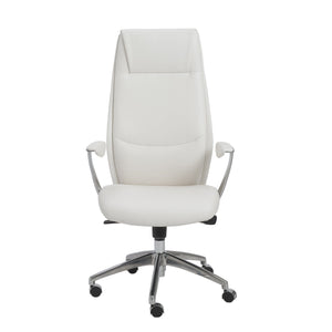 Crosby High Back Office Chair in White with Polished Aluminum Base
