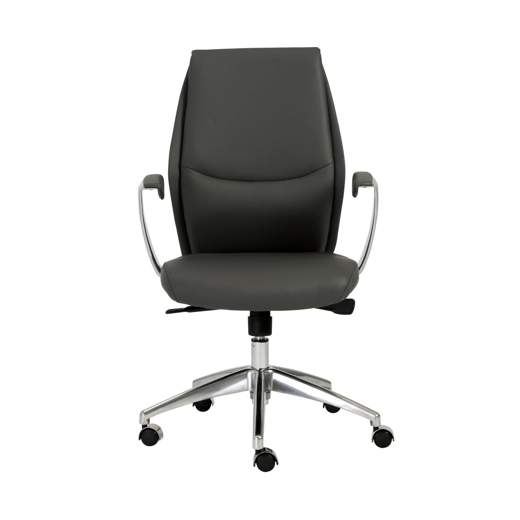 Crosby Low Back Office Chair in Gray with Polished Aluminum Base