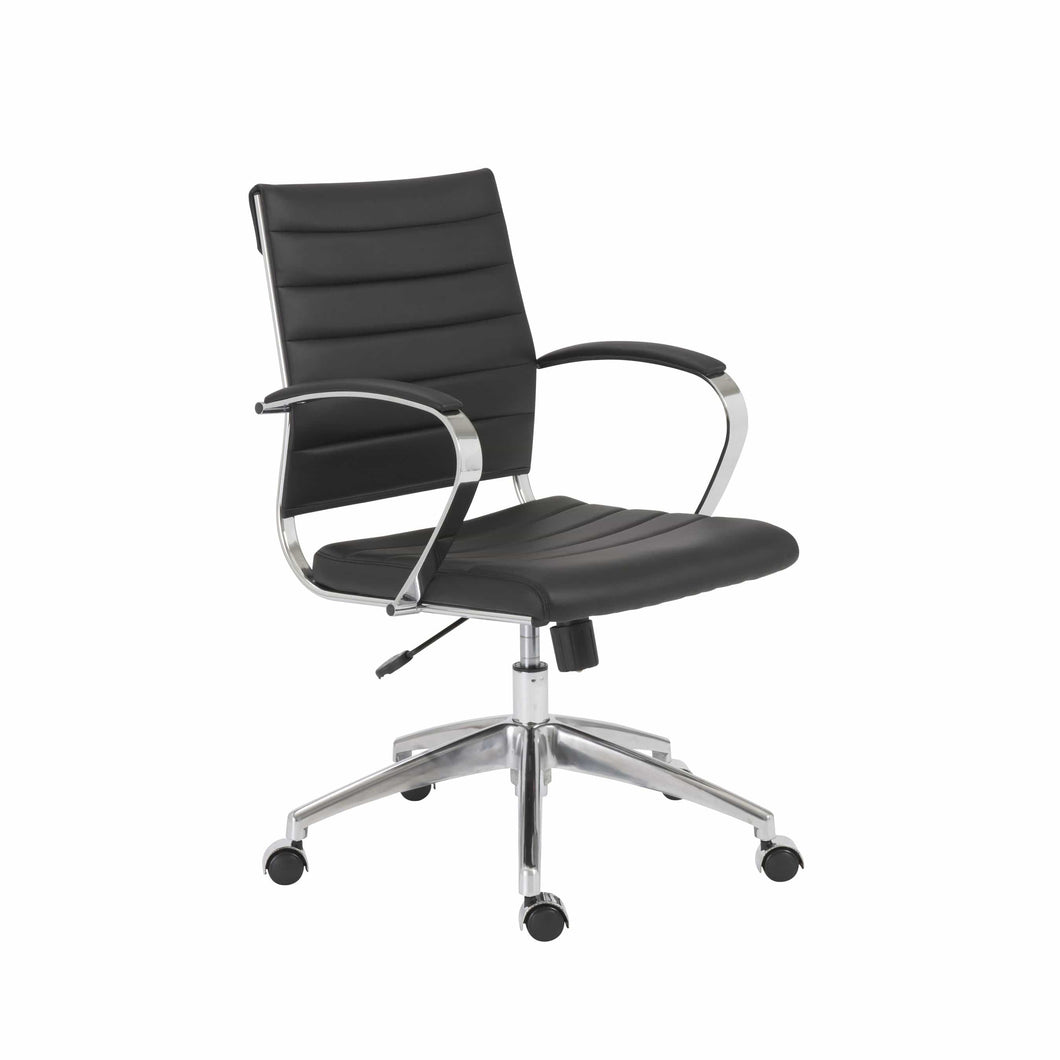 Axel Low Back Office Chair in Black with Aluminum Base