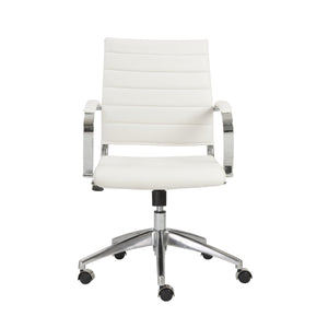 Axel Low Back Office Chair in White with Aluminum Base