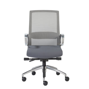 eurostyle Alpha Office Chair with Gray Mesh and Polished Aluminum Base