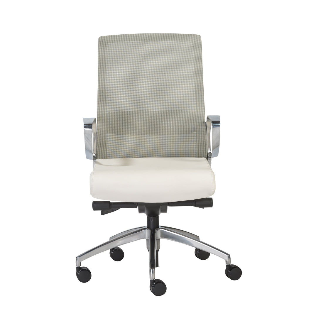 eurostyle Alpha Office Chair with Gray Mesh and Polished Aluminum Base 00522WHT 727511955680