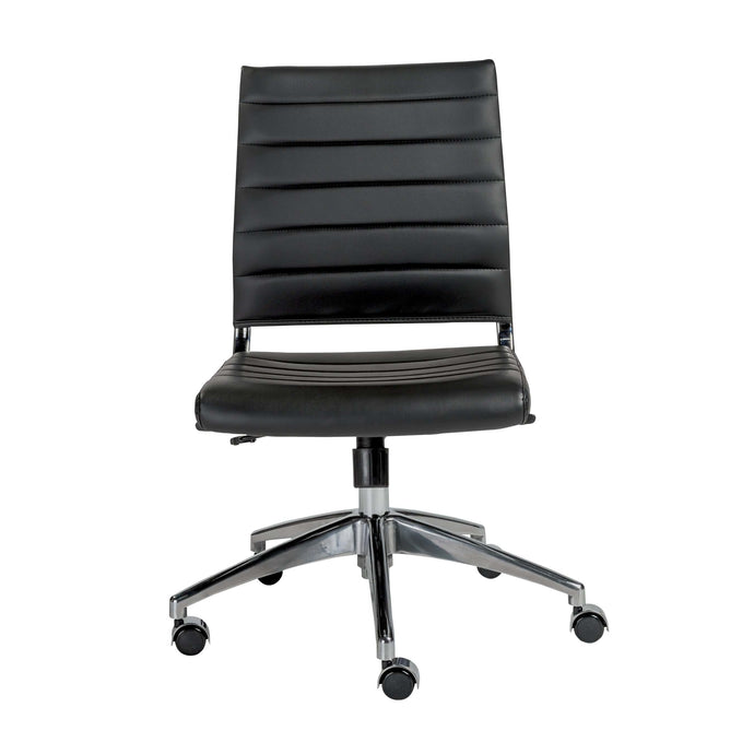 Axel Low Back Office Chair w/o Armrests in Black with Aluminum Base